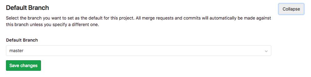 デフォルトブランチを変更、保護解除する方法(Gitlab)3