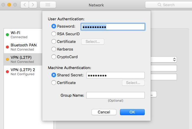Mac VPN詳細設定