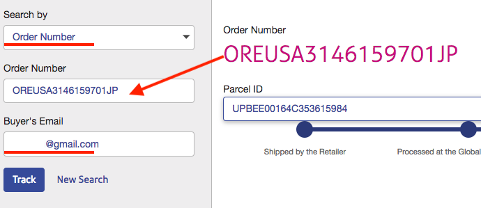 search by order numbers