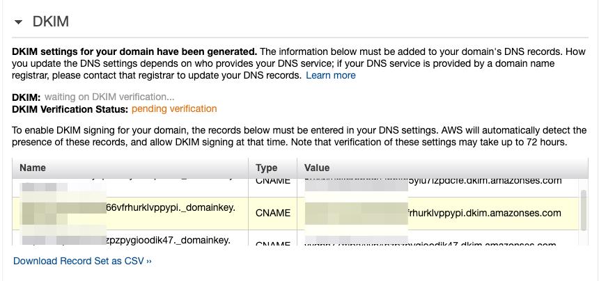AmazonSES DKIM NameCheap setting
